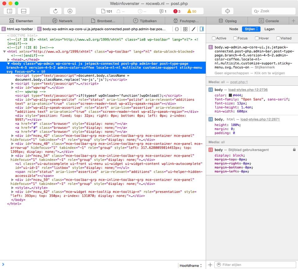 Het Webinfovenster, met de CSS.
